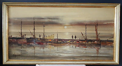 Original Jorge Aguilar-Agon | Large Oil on Canvas Painting of Boats in a Harbour