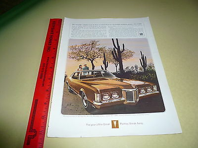 1969 Pontiac Grand Prix Gold  Ad Advertisement Vintage Wide-Track Large