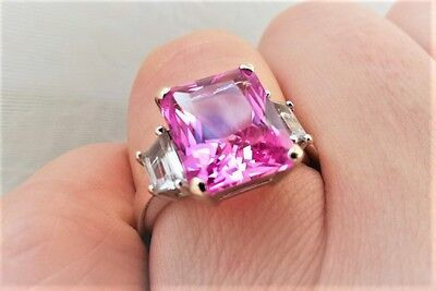 Art Deco PINK and WHITE SAPPHIRE 3 Stone Baguette RING 10.2 TCW 14K WG Vintage