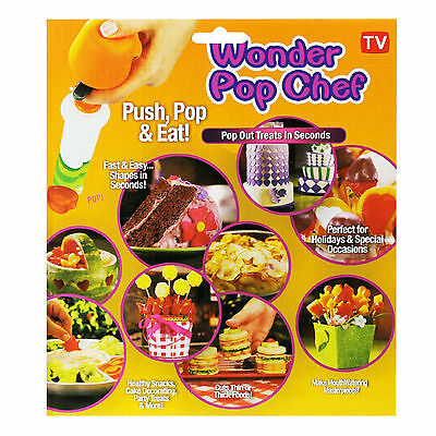 Wonder Pop Chef Push Out Canape Maker Food Shapes Cutter Party Nibble Decoration