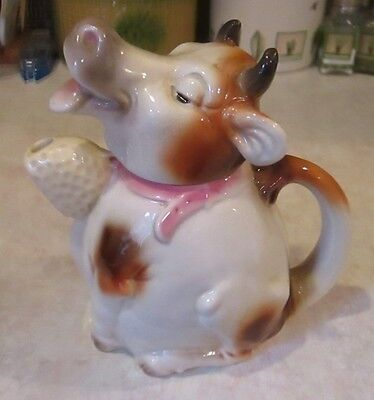 Vintage Erphila pottery COW TEAPOT made in Germany figural animal