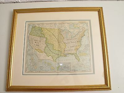 Antique 1900 Rand Mcnally Framed Map Of Us & Territories Porto Rico Crease