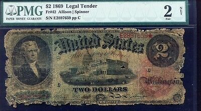 LOW BALL PMG 2 graded $2 = 1869 RAINBOW Fr # 42 Allison / Spinner signatures
