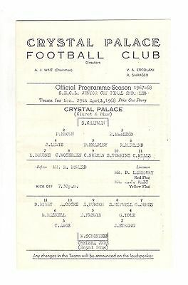 Crystal Palace v Chelsea 1967 - 1968  SECL Junior Cup Final 2nd leg