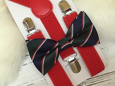 Kids Boys 2pc SET Adjustable Suspenders & Tuxedo New Bow Tie 6mon-8T Y Back