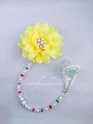 New Girl Toddler Pacifier Holder Clip Colorful Beads Flower Rhinestone Baptism