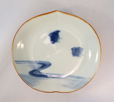 Antique Japanese Porcelain Peach Shaped Bowl Blue & White Plover Birds (EL)