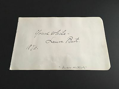Laura Burt Signed Autograph Slip / Page Actress In Old Kentucky