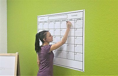 SwiftGlimpse Large Blank Reusable One Month Wall Calendar Wet & Dry Erase Wall