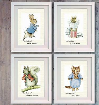 Beatrix Potter Peter Rabbit set of 4 Poster Picture Print Decor Nursery Gift