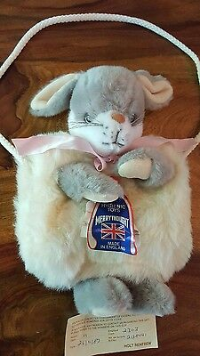 Rare 1987 holt renfrew merrythought bunny plush-hand warmer and purse (england)