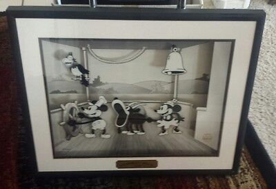 Disney Steamboat Willie Animated Moving Art w/COA. 1928