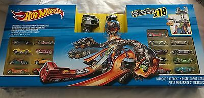 Hot Wheels Nitrobot Attack Set With 18 Cars - Brand New And Unused