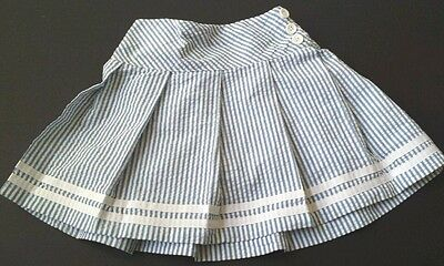 Hartstrings Skirt Skort Seersucker Blue Stripe Cotton Girl Size 5 EUC Boutique