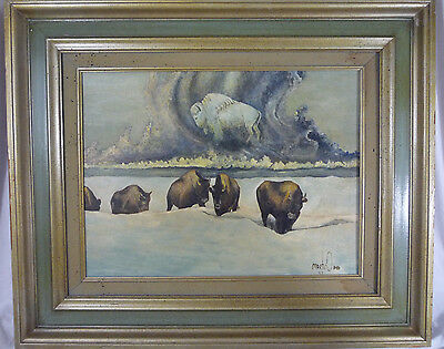"Martin Mitchell ""School Picture"" Bison Buffalo Spirit Painting 1997 - STUNNING"