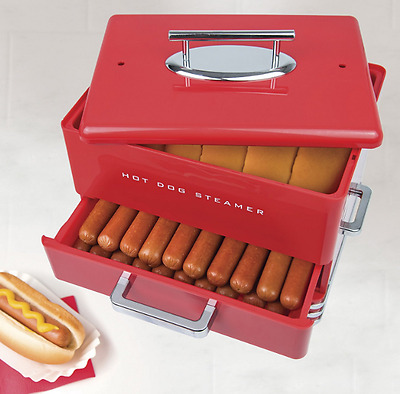 Hot Dog and Buns Steamer Cooker Nostalgia Diner Red Warmer Machine Electric