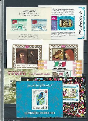 Middle East -  Yemen selection  of 8 mnh stamp sheets