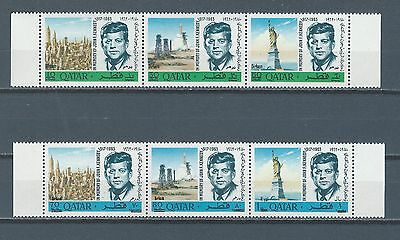 Middle East - Qatar Quatar mnh stamp set REVALUED JFK with DIRHAM variety 2 scan
