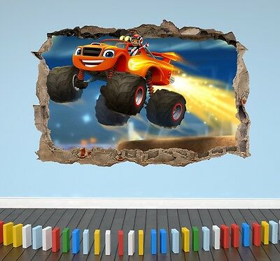 Blaze And The Monster Machines 3D Kids Wall Art Sticker Smashed Boy Girl Bedroom
