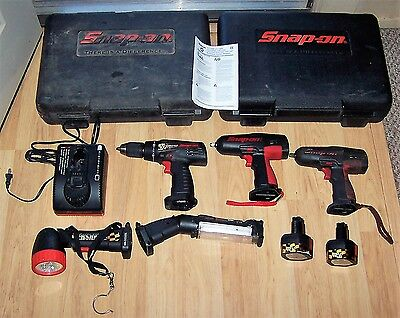 Lot Snap On Cordless Tools 12 Volt 3/8 Impact Wrench Drill Light Battery Charger