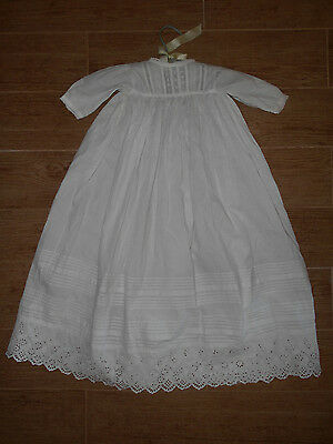 """Antique Victorian Infant Christening Gown Lace Trim For Display or Doll 32"""" Long"""