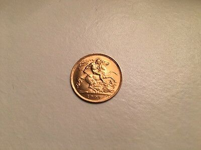 1907 EDWARDIAN 22ct GOLD HALF SOVEREIGN ENGLISH COIN LONDON MINT