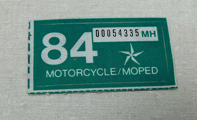 1984 Texas motorcycle or moped license plate sticker