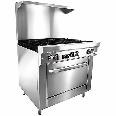 "36"" Natural Gas Restaurant Range Stove 6 Burners Stainless Steel W/ Over Shelf"