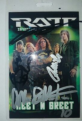 RATT Infestation Autographed Signed Pearcy Blotzer DeMartini Laminate M&G