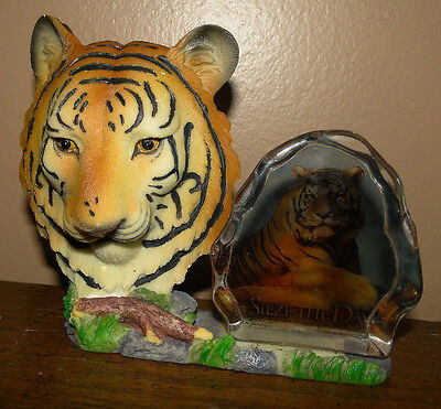 """Home Decor Sign Clear Rock Saying """"Sieze The Day""""  TIGER FIGURINE Figure Statue"""