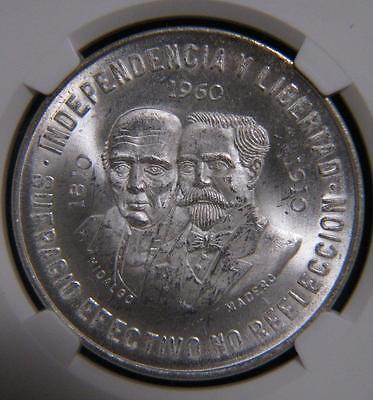 1960 Mo Mexico Silver 10 Pesos Independence Anniversary NGC MS63