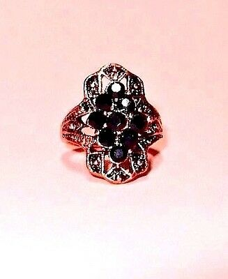 Art Deco Style Copper Ring with Black Rhinestones Size 6.5