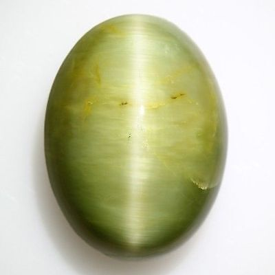 "11.250 Cts"" VERY VERY RARE NATURAL RARE WOW GREEN QUARTZ CAT'S EYE OVAL CAB  !!!"