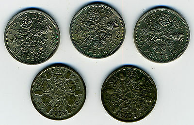 LOT OF 5 BRITISH SIXPENCE 1933, 1933, 1961,1964 and 1966