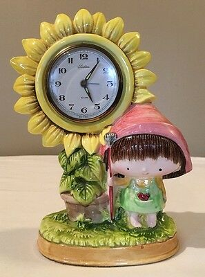 "Vintage ""Traditions"" Porcelain Wind Up Alarm Clock Girl W/Sunflower Japan"