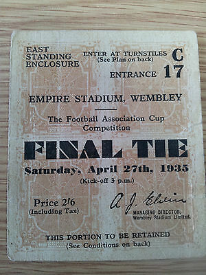 1935 FA Cup Final Ticket Sheffield Wednesday v West Bromwich Albion (original)
