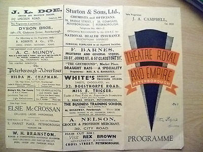 Theatre Royal & Empire Programme 1943- OTHER PEOPLE'S HOUSES by L Dexter