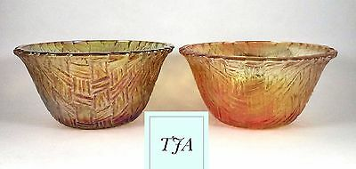 Indiana Carnival Glass Bowls Basket Weave 4.5 inch Amber  Set Of 2