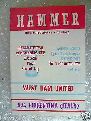 1975 WEST HAM UNITED v AC FIORENTINA (ITALY) 10 Dec(Anglo Italian Cup Winner Cup