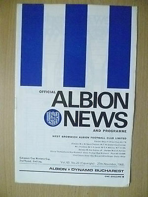 1968 European Cup Winners Cup 2nd RD, 2nd Leg- Official Albion News and Program