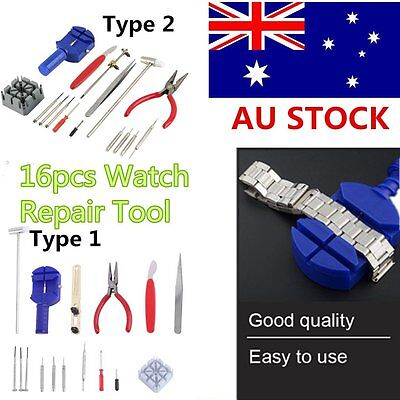 16pcs Watch Repair Tool Kit Band Pin Strap Link Remover Back Opener Hand Tool DM
