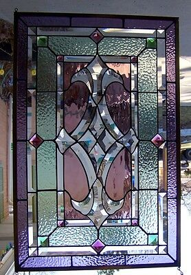 """Stained Glass window hanging 29 1/2 X 18 3/4"""""""