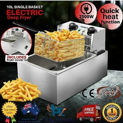 5 Star Chef Deep Fryer Single Basket Commercial Benchtop Cooker Stainless Steel