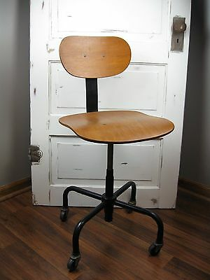 Vintage Wood Industrial Desk Chair Stool Spider Legs Bassick