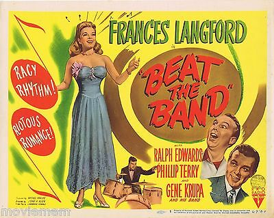 BEAT THE BAND Vintage Title  Lobby Card 1947 Gene Krupa Frances Langford Jazz