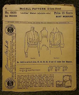 McCalls Edwardian Ladies' Blouse or Waist Pattern with Adjustable Collar