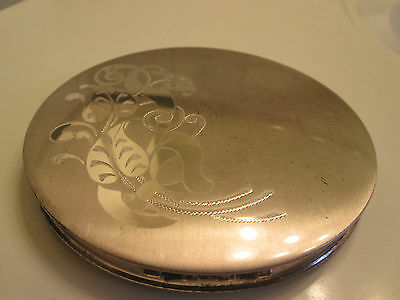 vintage sterling silver compact mirror 5th avenue design powder puff large