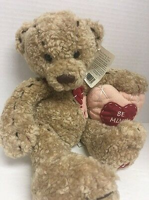 First and Main 14' Plush Bear Valentine Be Mine NEW Buttons