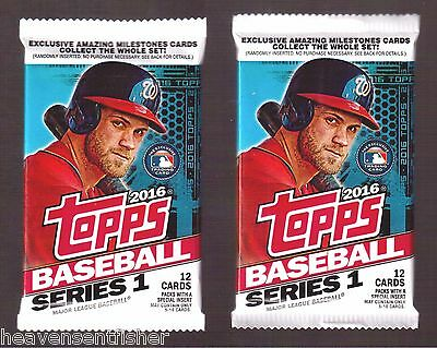 (Lot of 2) 2016 Topps Baseball Series 1 Relic/Auto/Patch/Cut Autograph Hot Packs