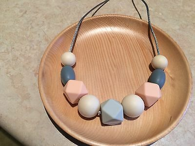 Silicone Sensory (was teething) Necklace for Mum Jewellery Beads Gift Aus Peach